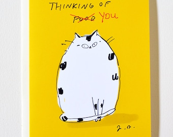 Thinking of You (Food) - Funny Cat Card - From the Cat - Cat Dad or Cat Mom Card by The Dancing Cat