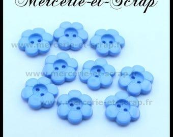 LOT 6 buttons 15mm blue flower