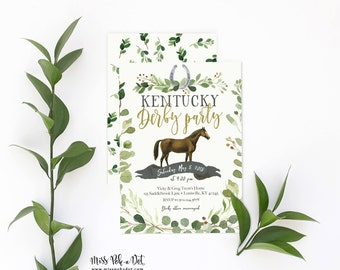Kentucky Derby Party Invitation, Prints, Greenery Invite, Run for the Roses, Horse, Race, Horseshoe, Green, Simple, Modern, Watercolor