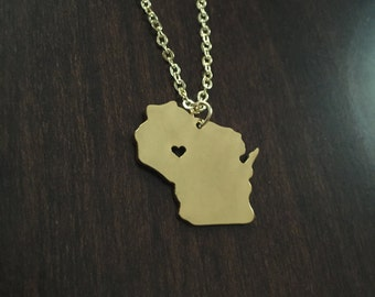 Wisconsin Necklace, Wisconsin, gold Wisconsin necklace, Wisconsin jewelry, Wisconsin pendant, state necklace, state jewelry, gold necklace