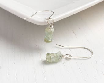 Aquamarine Earrings, March Birthstone Earrings, Natural Aquamarine, Raw Aquamarine Jewelry, Gift For Her, March Birthday Gift, Mermaid Gifts