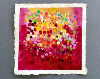Flower painting, small painting, deep red, acrylic art, abstract painting, gift for her