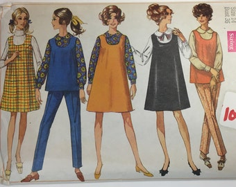"""Vintage 1968 Simplicity 7817 Maternity Jumper or Top & Pants Sewing Pattern Size 14 Bust 36"""""""