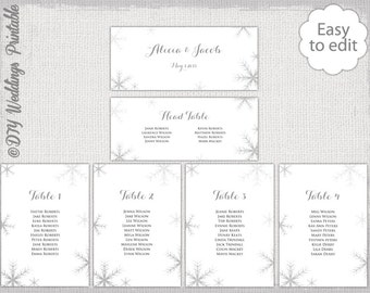 Wedding seating chart template black and white snowflake seating chart template silver gray snowflakes printable seating chart cards diy winter wedding table plan you edit word download maxwellsz