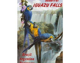 IGUAZU FALLS 1-Handmade Leather Postcard / Note Card / Fridge Magnet - Travel Art