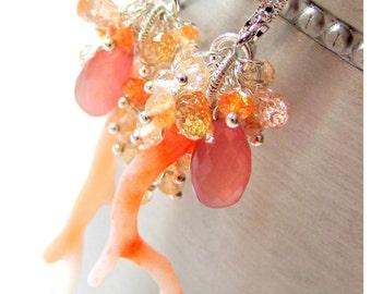 Coral Rhodocrosite Oregon Sunstone Imperial Topaz earrings