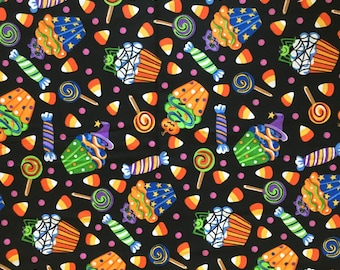 2 Halloween Candy Corn Cupcakes Fabric Bundle 1 yd each