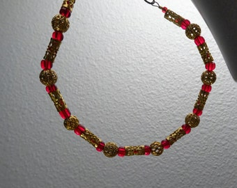 Gold and Red Beaded Bracelet or Anklet (B8)