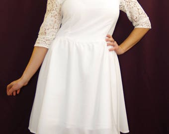 Retro light crepe and lace from Calais ivory wedding dress
