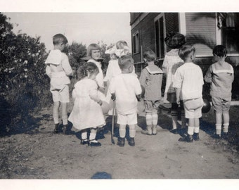vintage photo Little Children from Back at Birthday Party