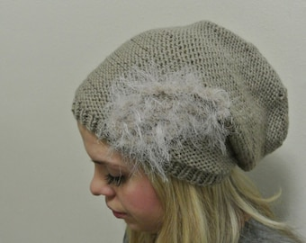 Slouchy Beanie in Taupe with a Fuzzy Cream Accent, Winter Hat, Winter Slouchy Beanie, Taupe Hat, Slouchy Hat