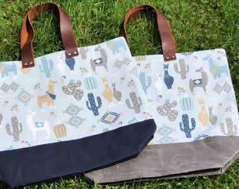 The Weekender Llama and Cactus on Waxed Canvas Utility Tote Carryall Project Travel Vacation Beach Getaway Market Bag