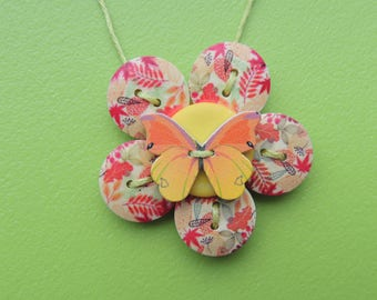 Butterfly necklace made using buttons