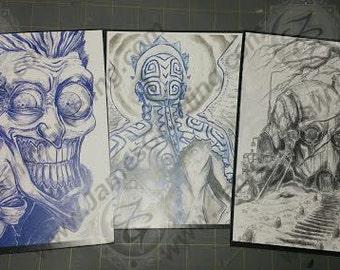 3-pack, mini-print package.  Artist Mini-Prints.
