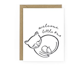 Kitten & Mama Letterpress Card