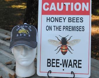 Beekeeper Combo, Cool Gift, Perfect for Beekeepers, Christmas, Birthday, Anniversary Gifts, Honey Bee, Beekeeping Cap & Honey Bee Sign