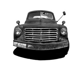 Vintage car photography, rustic car photo, truck photo, California truck, black and white car, sepia car, vintage wall art