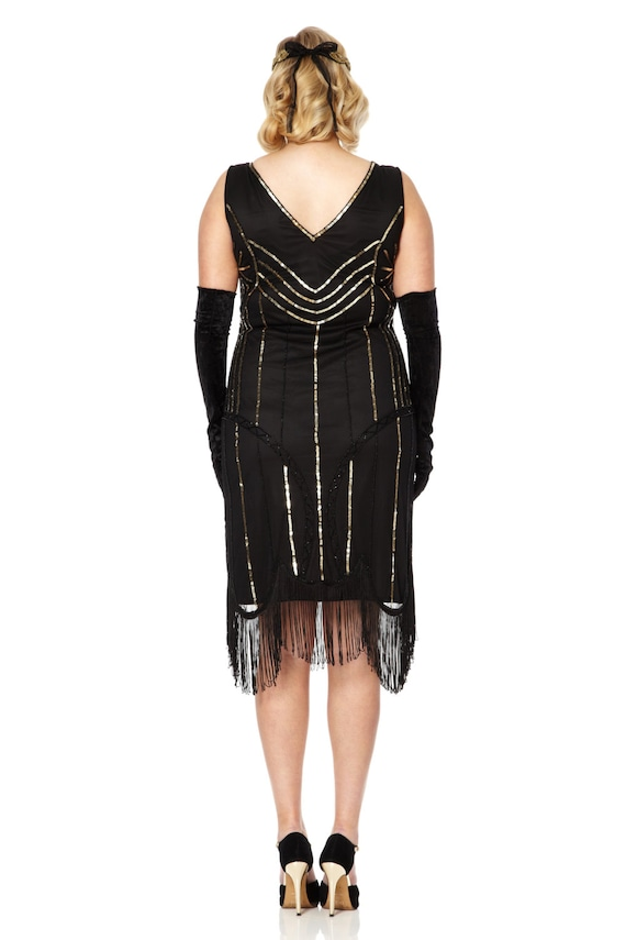 Plus Size Juliet Black Gold Flapper Dress 1920s inspired Great