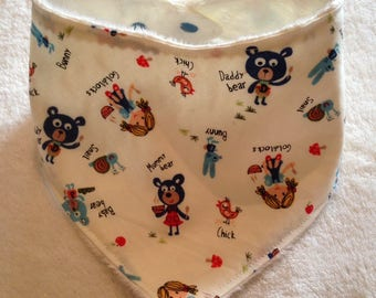 Baby, Toddler Bandana Dribble Bib in Goldilocks and the Three Bears Print