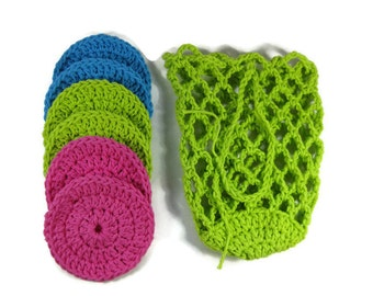Cotton Round Face Scrubbers With Net Bag