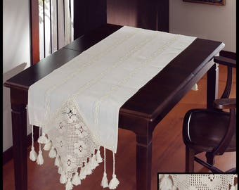 Embroidered and Hemstitched 100% Cotton Table Runner with Handmade Cotton Lace End Panel with Handmade Cotton Tassels