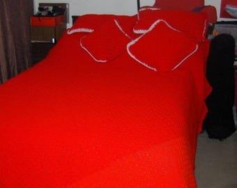 Handmade crotchet blanket with pillows