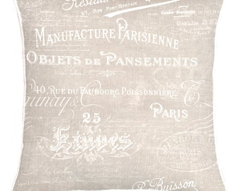 Vintage Style French Text Pillow