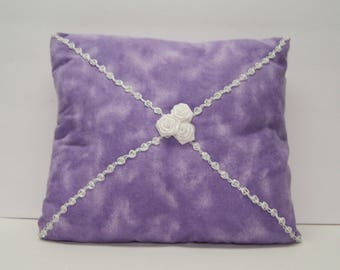 """Pillow Purple Flannel Suede White Rosebuds Lace 11"""" x 10"""" Lavender White Silk Rosebuds Lace"""