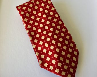 Red and Yellow Bettiini Silk Tie Geometric Diamond Pattern Made In Italy Retro Mens Necktie Businesswear
