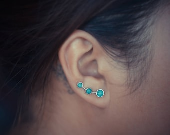 Turquoise Sterling Silver Ear Climbers