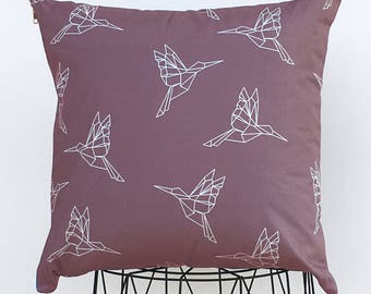 Pink origami bird old Cushion cover