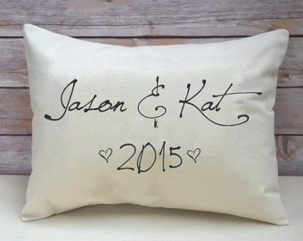 Couples gift, valentines gift idea,  couples names, personalized pillow, script, 2nd anniversary, cotton anniversary, engagement - jason&kat