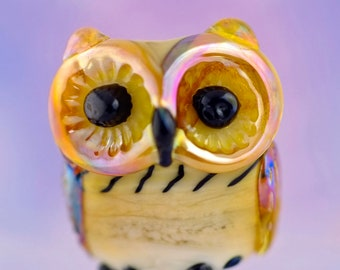 Barney... lampwork owl  bead............ sra