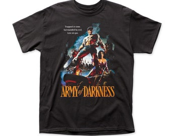 Army Of Darkness Trapped In Time Traditional Fit 18/1 Cotton T-shirt - ARMY02(Black)