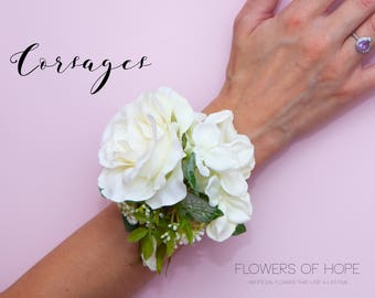 Ivory rose corsage...Artificial corsage ideal for prom, weddings etc with gift box.