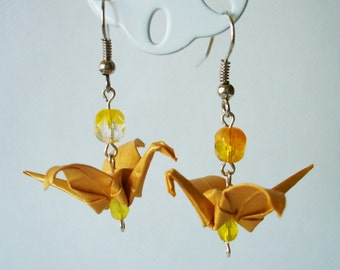 Handmade Origami Earrings with Cranes of Happiness Metallic Paper Yellow Transparent Sunny Glitter