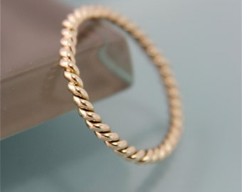 Gold Twist Ring SOLID 14k Yellow Gold 2mm Twisted Rope Infinity Wedding  Band Shiny Finish Ring Eco Friendly Recycled Gold