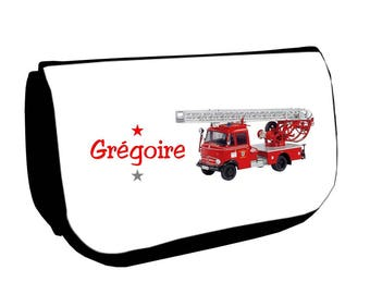 Cosmetic case Black /crayons fire truck personalized with name
