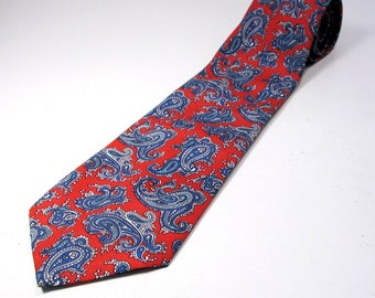 80s Classic Paisley Tie, Red Paisley Tie, Red and Blue Print Tie, Silky 1980s Vintage Tie by Excello, Men's Gift