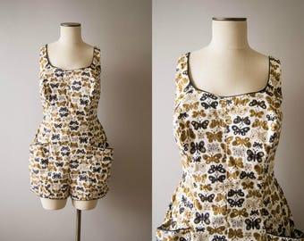vintage 1950s playsuit / 50s novelty print swimsuit / large
