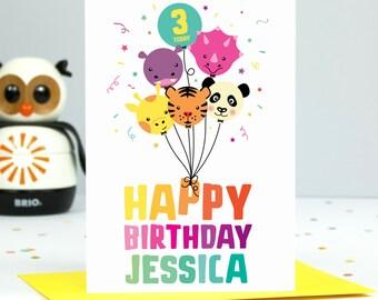 Girls Birthday Card // Personalised Girls Birthday Card // Girls Birthday Age Card