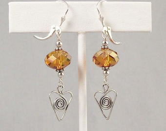 Swarovski Copper Crystal and Sterling Silver Wired Heart Earrings, Long Orange Crystal Dangle Jewelry
