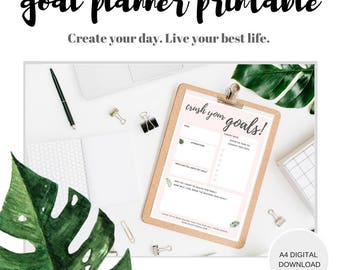 Goal Tracker Printable, Goal Planning Worksheet, Weekly Goal Setting, Monthly Goal Planner,Goal Worksheet, Printable, Monstera Stationery