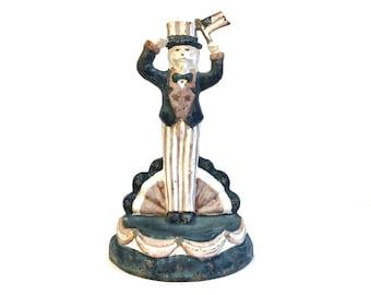 Vintage Cast Iron Uncle Sam Doorstop ~ Fireplace Hearth Ornament ~ Doorstop~ Americana