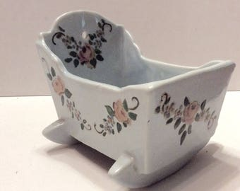 Hand painted ceramic cradle music box Rock a Bye Baby lullaby. Free ship to US
