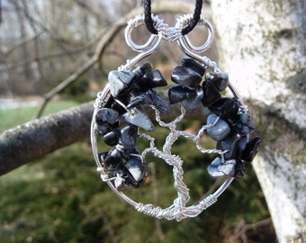 Wire-wrapped Tree of Life Pendant with Snowflake Obsidian Gemstone Chips