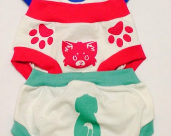 Toddler training pants with paws to show where to hold with the face in the front and the tail in the back soft cotton underwear.