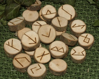 25 Elder Futhark MAPLE WOOD Runes - Pagan, Norse, Witchcraft, Divination, Handmade