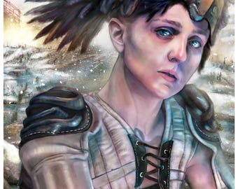 VALKYRIE, WINTER - Art Print by MANDEM (Mythpunk, Steampunk, Cyberpunk, Dieselpunk, Fantasy Art)