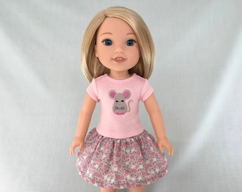 Pink Mouse T-Shirt and Pink and Gray Print Skirt for Wellie Wisher/14.5 Inch Doll